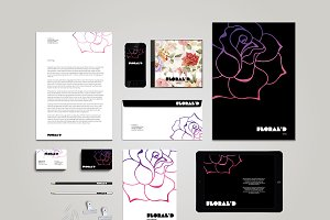 Floral Stationary Template + Mockup