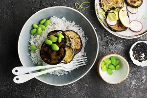 Without meat teriyaki eggplant with