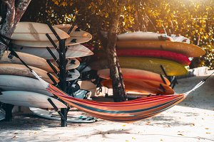 Colorful surfing boards and hammock
