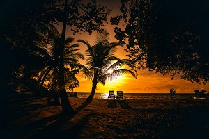 Dramatic sunset on a tropical beach