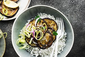 Without meat, teriyaki eggplant with