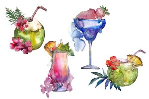 Exotic cocktails PNG watercolor set