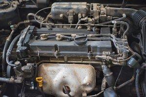 Dirty car engine background.