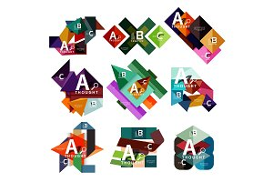 Set of geometric infographic banners