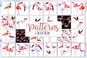 Watercolor pink flamingo PNG set
