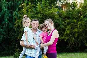 Sporty family outdoor portrait