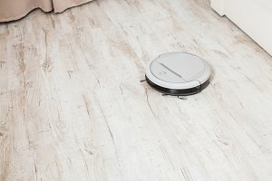Robot vacuum cleaner in the room