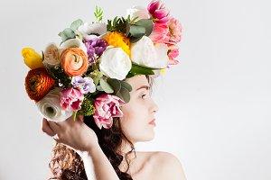 beautiful woman with wreath
