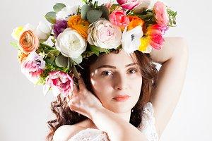 Portrait of a happy woman in wreath