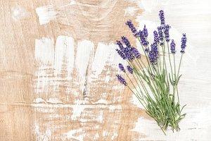 Lavender flowers wooden texture Vint