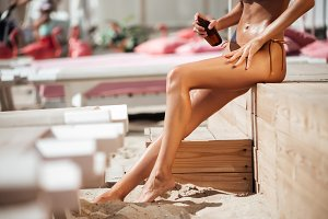 Close up photo of pretty woman legs