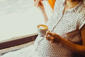 Morning coffee for a pregnant woman