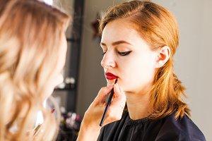 Hand of make-up master