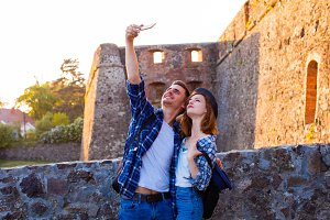 Selfie while traveling to the castle