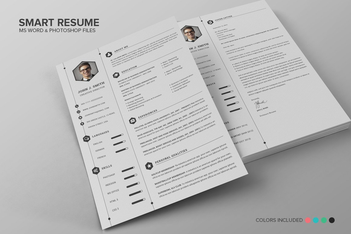 smart resume cv set resume templates creative market