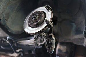 Car break disc close up