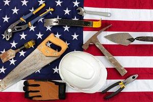 Labor Day holiday concept USA Flag