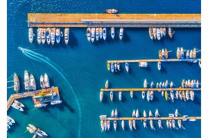 Aerial view of boats at sunset