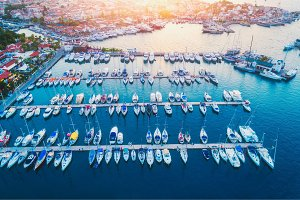 Aerial view of boats, yachts