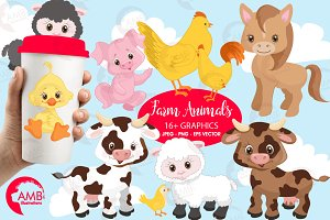 Farm Animals Clipart, AMB-1492
