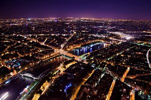 Paris at night - view on Seine River