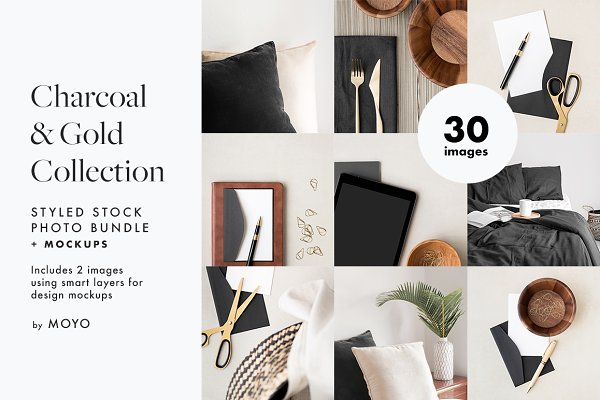 SALE! Charcoal & Gold Stock Photos