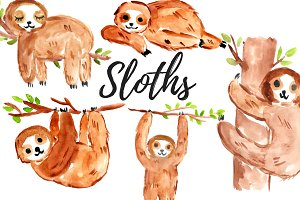 Watercolor Sloth Clipart Set