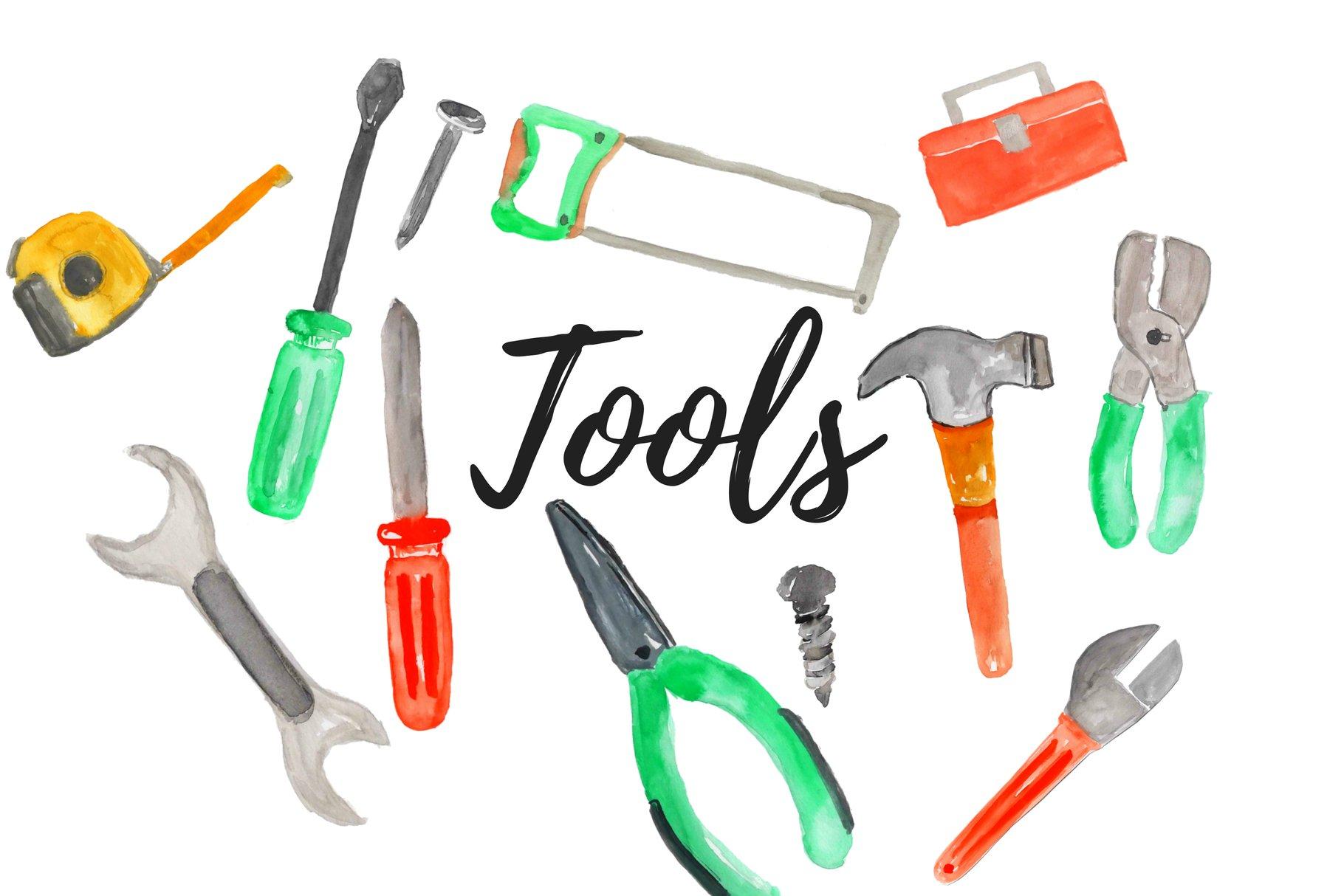 Watercolor Handy Tools Clipart Set | Pre-Designed Photoshop Graphics ~ Creative Market
