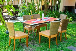 Chair and table setting outdoor