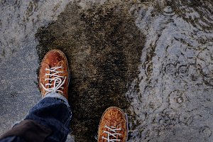 Shoes got Wet in Rainy Day