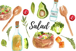 Watercolor food salad clipart