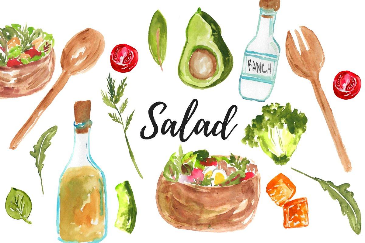 Watercolor Food Salad Clipart Illustrations Creative Market