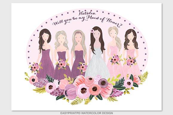 Bridesmaids Wedding Illustration Illustrations