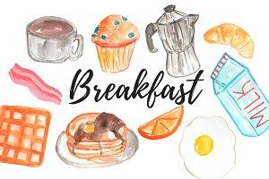 Watercolor Food Breakfast clipart