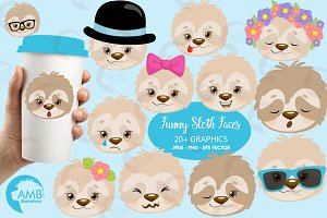 Sloth Faces Clipart, AMB-2203