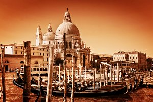 Venice, Italy in golden tint