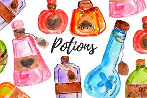 Watercolor Potion Bottle Clipart