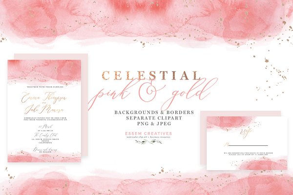 Celestial Watercolor - Pink and Gol…