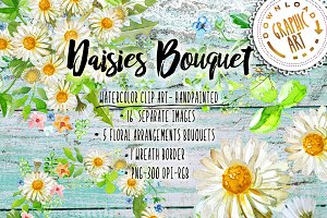 Daisies Bouquet Clipart Watercolor