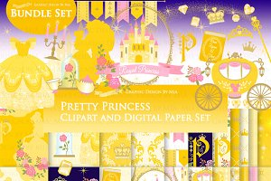 Princess Yellow Clipart+Pattern set