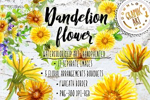 Summer Dandelion Clipart Watercolor