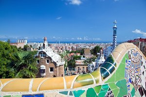 Mosaics in Park Guell, Barcelona