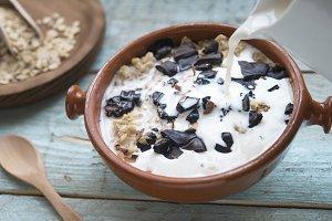 Porridge dark chocolate and integral