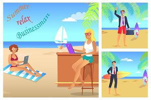 Businessman Summer Relax Color
