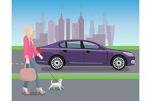 Woman Walking Dog in City Vector