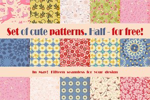 15 of cute patterns. 1/2 - for free!