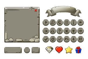 Big set Cartoon grey stone assets