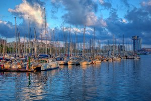 Boats in the harbor, Barcelona
