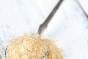Spoon of brown sugar
