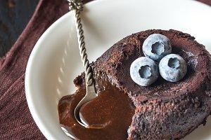 Chocolate fondant close up